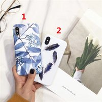 Wholesale Silicon Pattern - Soft IMD Phone Case for i8 Plus Fresh Green Leave Pattern Blue White Silicon Cover for i6 6S Plus 7 6Plus Case