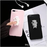 iphone silicium chat cas achat en gros de-Coque Cat Case pour iPhone X 8 7 6 Plus Coque Cute Cat Silicon Cartoon pour Iphone 7 6 plus