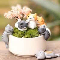 ingrosso figurine del fumetto-6pcs / Set Janpenese Cartoon Cat Micro Paesaggio Garden Decorativa in resina Miniature Home Decor Figurine Decorazione Fornitore