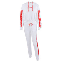 Wholesale sexy white yoga pants online - Fashion Piece Set Women Red White Sweatshirt And Pants Suit Sexy Loose Style Letter Print Casual Stripe Tracksuit