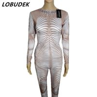 Wholesale Zebra Jumpsuit Women - 3D Printing Personality DJ DS stage costumes Leotard Elastic Flash Crystals Jumpsuit Nightclub Singer Bar Lead Dance performance stage wears