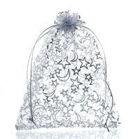 organza yıldızları toptan satış-Mjartoria 200 adet Yıldız Ay Beyaz Organze Çanta Moda Takı Çanta Ve Ambalaj Düğün Noel Için İpli Hediye Çanta Torbalar çanta hediye