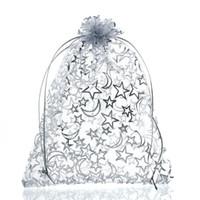 estrelas de organza venda por atacado-Mjartoria 200 pcs Estrela Lua Branco Saco De Organza Sacos De Jóias De Moda E Embalagem De Casamento Com Cordão Sacos de Presente Bolsas Saco Para O Presente de Natal