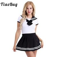japanische sexy uniform schule großhandel-TiaoBug Frauen Snap Crotch Strampler mit Mini Faltenrock Sets Japanese Sailor Schule Mädchen Uniform Sexy Frauen Cosplay Kostüme