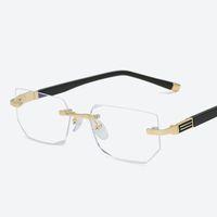 mavi gözlük mercekleri toptan satış-2019 Anti-mavi ışık Okuma Gözlükleri Presbiyopik Gözlükler Şeffaf Cam Lens Unisex Çerçevesiz Gözlük Çerçevesi Gözlük Gücü +1.0 ~ +4.0