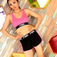Wholesale yoga pants sports bra online - Pink Letter Tracksuit Bra Set Bra Short Pants Two Piece Women Underwear Crop Bra Shorts Fitness Suits Sports Yoga Vest Sets Summer TC180831