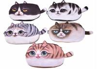 ingrosso borsa mini viso cartoon-New Girl 3D Coin Purse Wallet Bag Ladies Face Zipper Mini Cat Animal Coin Borsa per bambini borsa monete Pouch Kawaii Bag 10pcs /