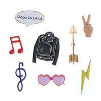Wholesale Metal Brooch Badge - Colorful Badge Leather Jacket Gesture Heart Glasses Enamel Pins Creatice Anti Wear Brooch Portable Novelty Items CCA9851 700pcs