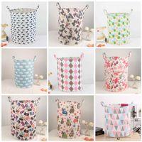 Wholesale Fabric Baskets Handles - INS Round Storage Baskets With Handle Crease Resistant Washing Hamper Foldable Baby Toys Finishing Bag Popular 12 5kk B