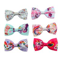 Wholesale Print Suppliers - Mini Cute Unicorn Hair Clip 3 Inch Hair Bow Unicornio 20 Colors One Pack Party Supplier Fabric Bow