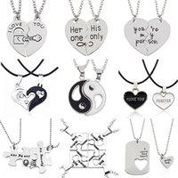 collar de los amantes del yin yang al por mayor-2 PCS Mejores Amigos Collar de Joyas Yin Yang Tai Chi Colgantes Parejas CollaresPantalones Unisex Amantes Regalo de San Valentín
