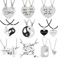 yin yang liebhaber halskette großhandel-2 STÜCKE Beste Freunde Halskette Schmuck Yin Yang Tai Chi Anhänger Paare Gepaart NecklacesAnhänger Unisex Liebhaber Valentinstag Geschenk