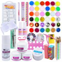 Wholesale pro acrylic powder nail kit - Pro Acrylic Powder Nail Kit False Tips Diy Acrylic Nail Liquid Full Acrylic Nail Powder Dust Glitter Powder Manicure For Nails