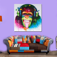 Wholesale framed wall art paintings for sale - Decorated Abstract Paintings Chimpanzee Modern Wall Art Canvas Hanging Pictures Living Room Decor No Frame High Grade kx5 Ww
