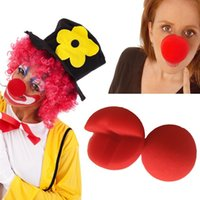 Wholesale Cosplay Makeup - Red Nose Ball Sponge Cosplay Buffoon Funny Toys Dress Up Props Magic Makeup Noses For Halloween Masquerade Decoration Free Shipping 0 75cn Z