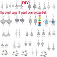 ingrosso orecchini di locket-Orecchini di perle Orecchini di ciondolo Orecchini di perle d'acqua dolce Orecchini di ciondolo di ostrica Orecchini di ciondolo di perla incastonati includono palla di cotone perlato