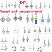 locket ohrringe großhandel-Perle Käfige Medaillon Ohrring Ohrringe Süßwasserperlen Oyster Anhänger Ohrringe Perle aushöhlen baumeln Ohrringe gehören Perle Wattebausch