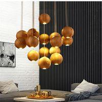 arañas de comedor de china al por mayor-2017 lámpara de madera maciza moderna china japonesa nórdica creativa minimalista sala de estar comedor tres lámpara de madera de una cabeza