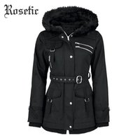 Wholesale casual goth - Wholesale- Rosetic Gothic Coat Vintage Women Black Casual Autumn Zippers Belt Hooded Trench Slim Outerwear Punk Streetwear Retro Goth Coats