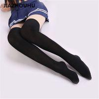 ingrosso alta scuola sexy-Calze di marca giapponese a strisce sopra il ginocchio Calze da donna della scuola superiore Compressione estiva sottile Sexy calze bianche lunghe