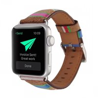 Wholesale unique watch bands for sale - Group buy FOLOME Unique Transverse Wood Pattern Watch Band Straps Pu Leather Wristbands for mm Apple Watch Series1 Sport Edition