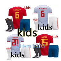 Wholesale boys shirts sale - 18 19 world cup Spain kids Home red soccer Jersey kit 2018 ISCO PIQUE RAMOS A. INIESTA ASENSIO child soccer shirt Football uniforms sales