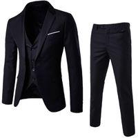 e38179a70409e NIBESSER Para Hombre 3 Unidades Blazers Pantalones Chaleco Traje Social  Hombres Moda Sólido Traje de Negocios Conjunto Casual Para Hombre Trajes  Formales ...
