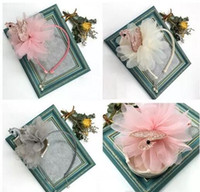 Wholesale pink pearl headbands - 3-color New Glitter Kids sequins swan hair sticks pink girls stereo chiffon flower hair accessories boutique child pearl pendant Headband