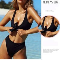 Wholesale new beach clothing ladies online - 2018 Europe and the United States new bow bikini solid color split swimming beach pool clothing ladies swimwea