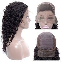 черные волосы человеческих волос парики оптовых-Дешевые бразильский глубокая волна вьющиеся человеческие волосы полный кружева парики перуанский человеческих волос кружева перед парики высокое качество кружева перед парик черная девушка