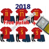 Wholesale Cup D - Top quality 2018 would cup have patch Spain kids Jersey ISCO PIQUE SERGIO RAMOS A. INIESTA M. ASENSIO THIAGO MORATA boy football shirts