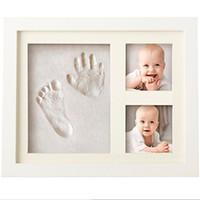 einzigartiges baby großhandel-Baby Handprint Kit Footprint Fotorahmen für Neugeborene Mädchen und Jungen, einzigartige Baby-Dusche-Geschenke für die Registrierung, denkwürdige Keepsake Box Dezember festgelegt