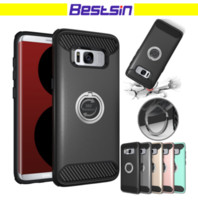Wholesale free ring backs - Hybrid Rubber Armor Back Case Shockproof Ring Holder Kickstand Phone Case for iPhone 8 8plus DHL Free Shipping