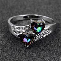 anéis de prata esterlina grátis venda por atacado-Anel de casamento de Prata Esterlina 925 Anel com Duplo Amor Coração Cubic Zircon Diamante atacado jóias Rápido frete grátis