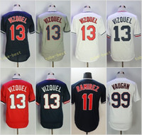 Wholesale 99 free - 13 Omar Vizquel Jersey Baseball Jerseys 99 Rick Vaughn 11 Jose Ramirez Men Red White Grey Navy All Stitched Jersey Free Shipping