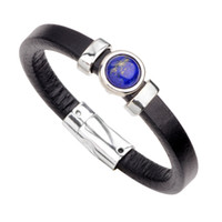 leather bracelets crystal stones NZ - Genuine Stone Leather Turquoise black agate Bracelet Men Women Vintage Rock Punk Charm Bracelet Bangle