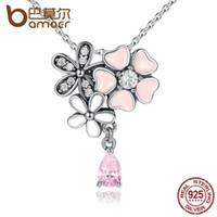 corazón de la flor de cerezo al por mayor-925 Sterling Silver Pink Heart Blossom Cherry Flower 45 CM Colgantes Collares Mujeres Joyería de plata