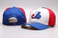 rotes blaues visor großhandel-2018 Herren Montreal Golf Visor Weiß Blau Rot Farbe Hysteresenhüte Team Logo Stickerei Sport Expos Einstellbare Baseball Strap zurück Caps