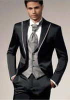 Wholesale coat tie for men - 2018 Fashion Men Suits New Dress Suit Silver Tuxedo Gentleman Wedding Prom Groom Tuxedos For Men hot Sale(Coat+Pant+Vest+Tie)