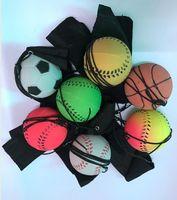Wholesale fun balls - wholesale new Random 8 Style Fun Toys Bouncy Fluorescent Rubber Ball Wrist Band Ball Board Game Funny Elastic Ball Training Antistress