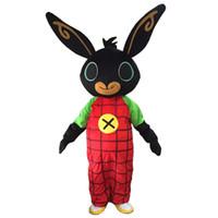 ingrosso animali personaggi dei cartoni animati-Il costume all'ingrosso della mascotte del coniglietto di Bing ha personalizzato la mascotte del personaggio dei cartoni animati del coniglio di dimensione dell'adulto per l'animale adulto grande nero rosso Halloween party