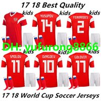 Wholesale uniform name - 18 Russia home kids kit soccer jersey SOCKS world cup russian Top quality soccer clothing uniforms football jersey custom name DZAGOEV 10