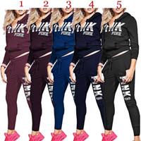 Wholesale long yoga pants for women online - S XL Woman Sportswear Letter PINK Letter Print Sweatshirt Pants Two piece Set Woman Jogging Sport Suit for Ladies Tracksuit Sweatsuit