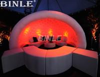 ingrosso tenda di nozze gonfiabile-Personalizzato 5x4x3.5 m super cool outdoor semicerchio gonfiabile cupola a cupola con LED per la decorazione della festa nuziale all'aperto