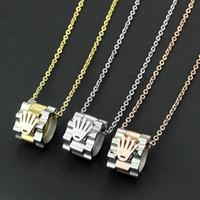 damen mode halsketten anhänger großhandel-316l titanium stahl mode heißer vintage anhänger liebhaber halskette 18 karat gold dame schmuck halskette kette lange 48 cm anhänger breite 1,1 * 1,4 cm