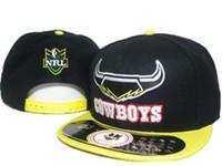 chapéu de vaqueiro amarelo venda por atacado-Hot preto amarelo North Queensland Cowboys nr esporte equipe chapéus para homens mulheres ajustável nrl snapbacks chapéus bola snapback tampas de sol