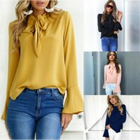 ofis giyim topları toptan satış-5 Tasarım Moda Kadınlar Şifon Bluz Zarif Uzun Kollu Gömlek Papyon Ofis Bayan Giyim Kadın S-XL CL051 Tops