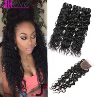 Wholesale ocean wave hair - Top Selling Water Wave 3 Bundles with Closure 8A Brazilian Hair Peruvian Water Wave Malaysian Ocean Wave Indian Wet and Wavy Human Hair