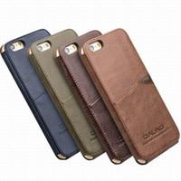 iphone6 hüllen leder großhandel-Neuheit Luxus Vintage Leder zurück Fall Deckung für iPhone6 / 6S plus mit Kartenhalter