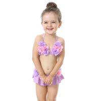 Wholesale orange swimsuit skirt - Water fun!Children's Lovely beautiful Beach wear swimsuit women's split skirt flower bikini baby swimsuit 0-5 years old